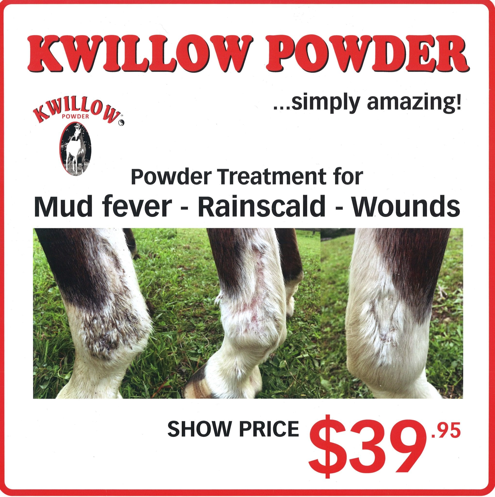 EQUINE PRODUCT ALERT – KWILLOW POWDER For Treatment Of Of Mud Fever, Rainscald And Wounds