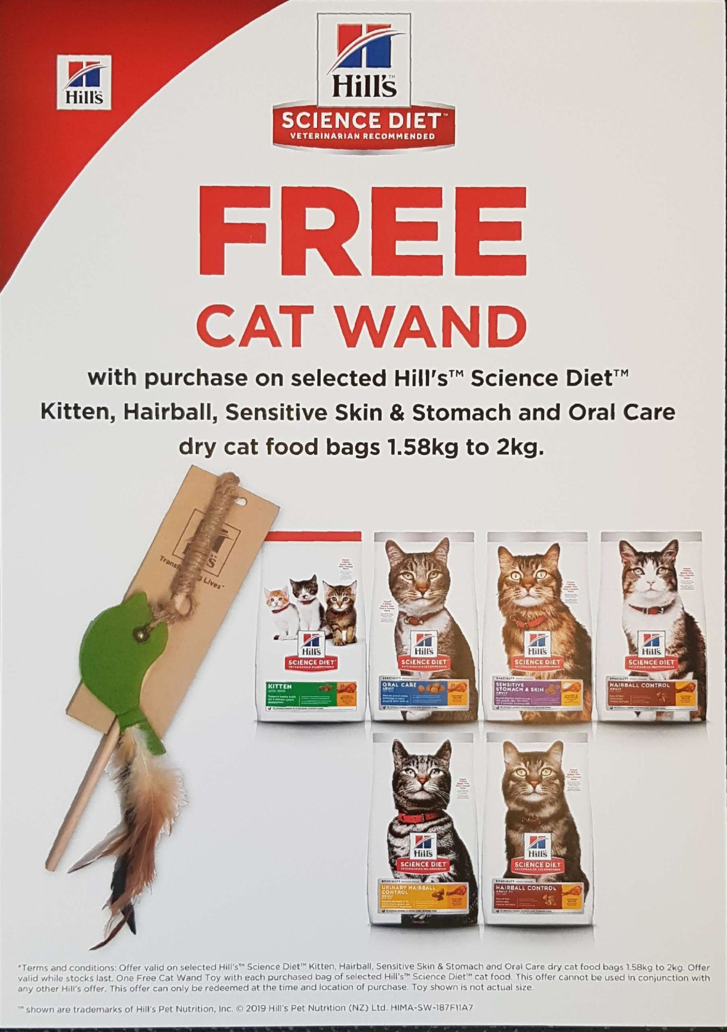 FREE Cat Wand With Selected Hills Science Diet 1.58kg – 2kg