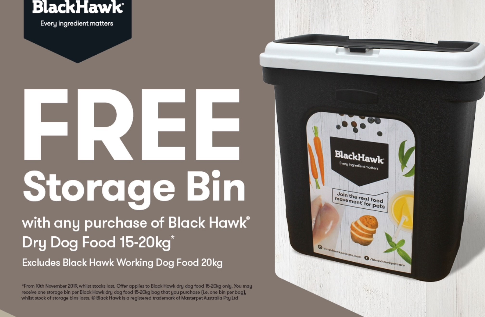 Free Storage Bin With Selected Blackhawk