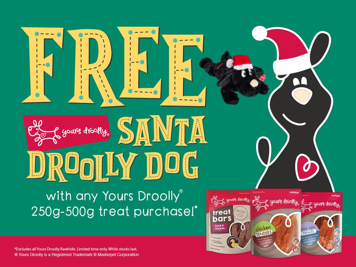 FREE Santa Droolly Dog With Any Y/D 250g – 500g Treat!