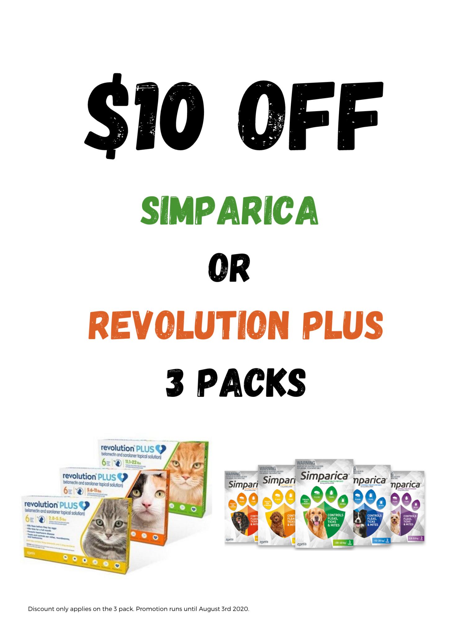 $10 Off Simparica Or Revolution Plus 3 Packs
