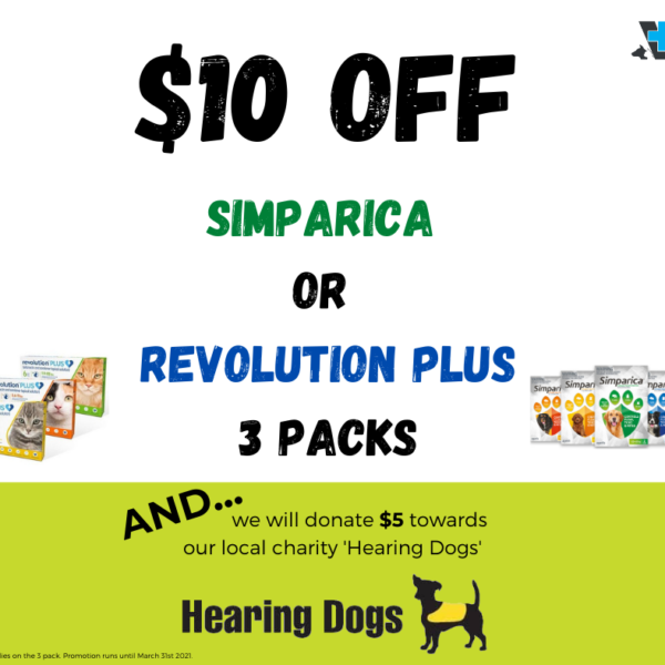 Facebook_$10 off Simparica or Revolution Plus 3 pack_Hearing Dogs